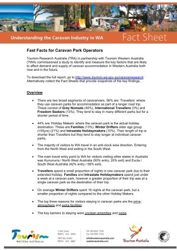 Fast Facts for Caravan Park Operators - Tourism Western Australia