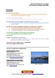 Lettre d'informations à la presse CRT Lorraine, automne-hiver 2006 ...