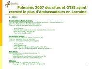 Palmarès 2007 des sites et OTSI ayant recruté le plus d ...