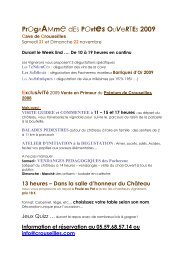 PrOgRAMme dES PORtes OUVeRTEs 2009 Cave de ... - Tourisme 64