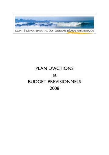 PLAN D'ACTIONS ET BUDGET 2008 - Tourisme 64