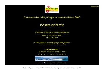 Concours des villes, villages et maisons fleuris 2007 ... - Tourisme 64