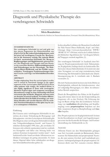 Diagnostik und Physikalische Therapie des vertebragenen ...