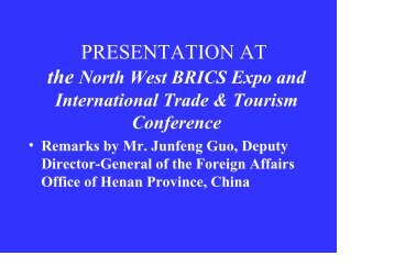 PRESENTATION AT - Tourism in South Africa, North-West Province