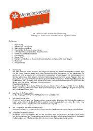 GV Protokoll vom 11. März 2005 - Tourismus der Gemeinde Illgau