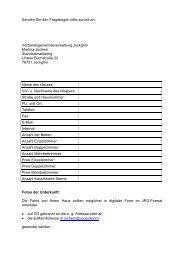 Fragebogen für Hotels, Gasthöfe, Pensionen und Privatzimmer