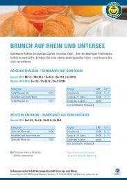 Angebot Brunch auf Rhein und Untersee - Tourismus Untersee e.V.