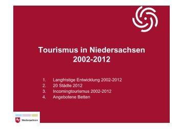 Tourismus in Niedersachsen 2002-2012 - DEHOGA Niedersachsen