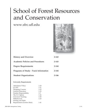 School of Forest Resources and Conservation - Registrar ...