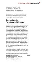 Internationale Tourismus-Offensive - Tourist Information Mannheim