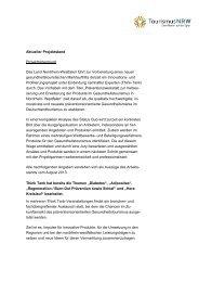 Aktueller Projektstand Projekthintergrund Das ... - Tourismus NRW
