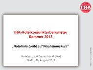IHA-Hotelkonjunkturbarometer Sommer 2012 - Tourismus NRW
