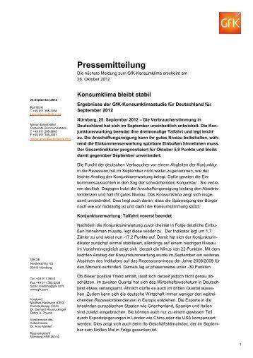 Pressemitteilung GfK-Konsumklima September 2012