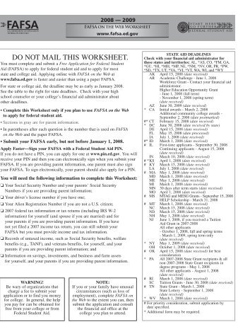 08-09 fafsa on the web worksheet - Touro College