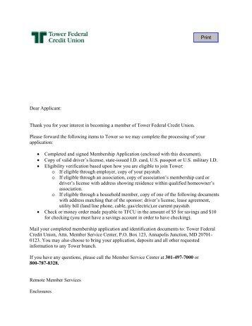 Dear Applicant - Tower Federal Credit Union