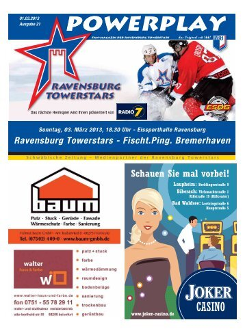 01.03.2013 – Heft zum Spiel gegen Bremerhaven - Towerstars