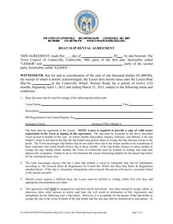 Boat Slip Lease Agreement - Town of Centreville, Maryland
