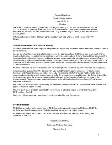 Town of Hamburg Planning Board Meeting March 6, 2013 Minutes ...