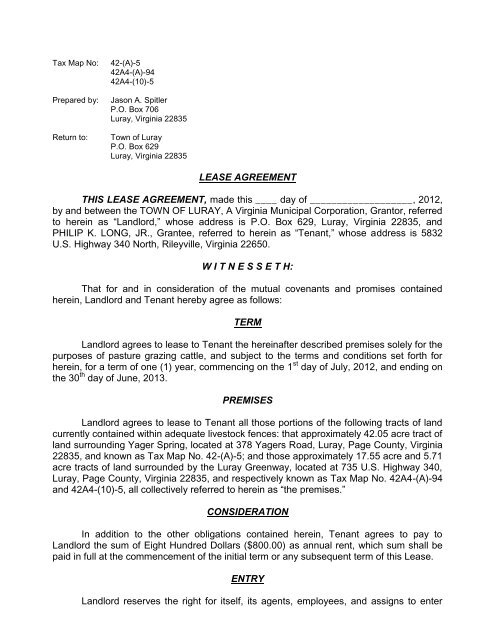 Lease Agreement This Lease Agreement Town Of Luray