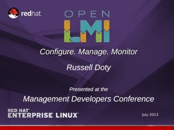 Configure. Manage. Monitor Russell Doty Management ... - DMTF