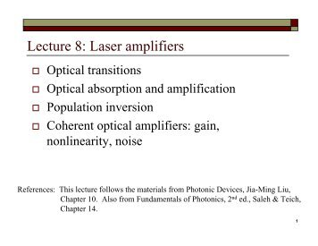 Lecture 8: Laser amplifiers