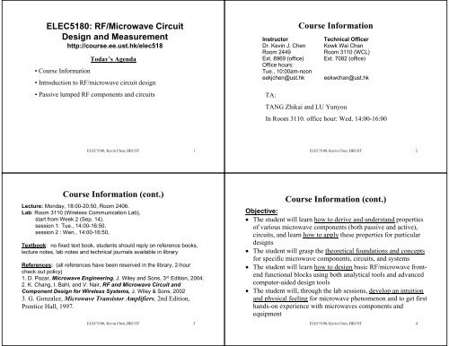 ELEC5180: RF/Microwave Circuit Design and Measurement Course