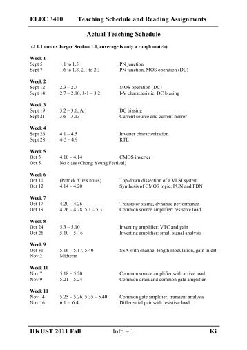 ELEC 3400 Teaching Schedule and Reading Assignments
