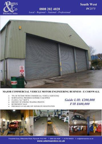 0808 202 4028 South West Guide L/H: £200,000 F/H ... - Adams & Co