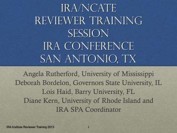 IRA Reviewers Presentation April 2013