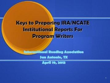IRA Writers Presentation April 2013 - International Reading ...