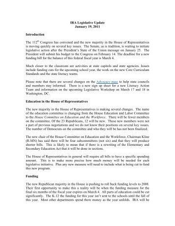 IRA Legislative Update