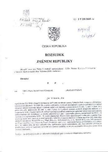 Rozsudek č. 20/2006