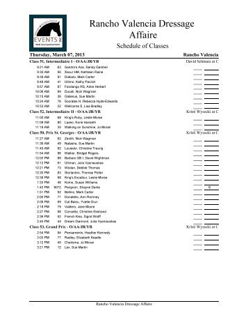 Rancho Valencia Dressage Affaire (2013) : Show Schedule