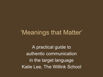 Meanings that Matter - Department of Education