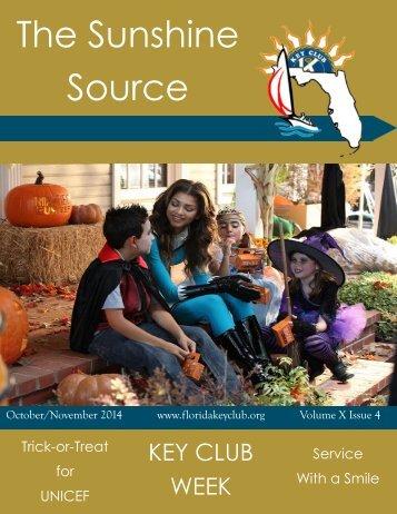 Florida Key Club's Sunshine Source Vol X No 4 Oct-Nov 2014