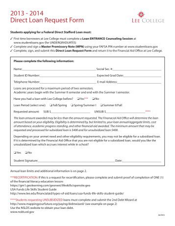 Additional Unsubsidized Loan Request Form - Blackhawk Technical