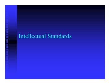 Intellectual Standards - Lee College