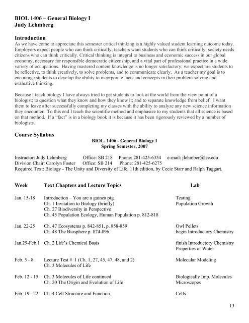 Judy Lehmberg FLC I Lee College