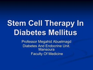 Stem Cell Therapy In Diabetes Mellitus