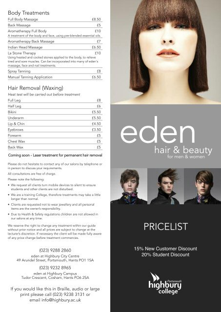 Eden Price List Highbury College