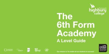 6th Form Academy A Level Guide - Highbury College