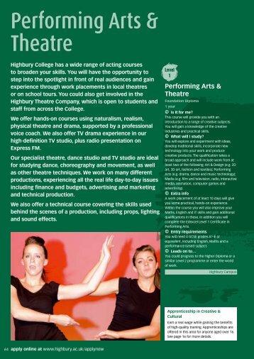 Performing Arts & Theatre - Highbury College