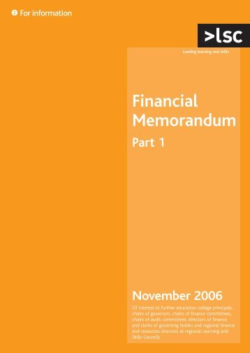 Financial memorandum part 1 - lsc.gov.uk - Learning and Skills ...