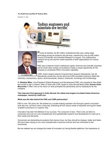 interview with P&G's Dr. Shekhar Mitra - P&G Beauty & Grooming