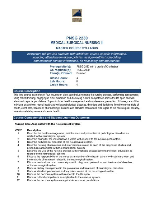 Pnsg 2230 Medical Surgical Nursing Iii Athens Technical