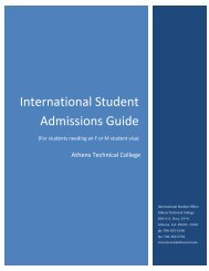 International Student Admissions Guide - Athens Technical College