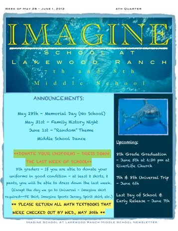 Newsletter - May 28- June 1st, 4th Qtr copy copy ... - Imagine Schools