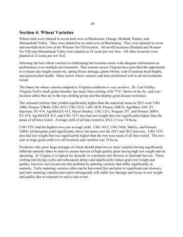 Small Grains in 2013: Wheat Varieties (PDF | 192KB) - Virginia Tech