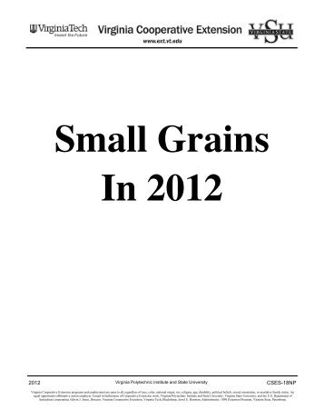 Small Grains in 2012: Table of Contents (PDF | 444KB) - Virginia ...