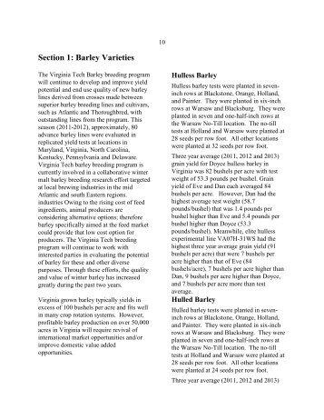 Small Grains in 2013: Barley Varieties (PDF | 146KB) - Virginia Tech
